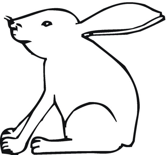 Left-facing Silhouette Bunny Coloring Page