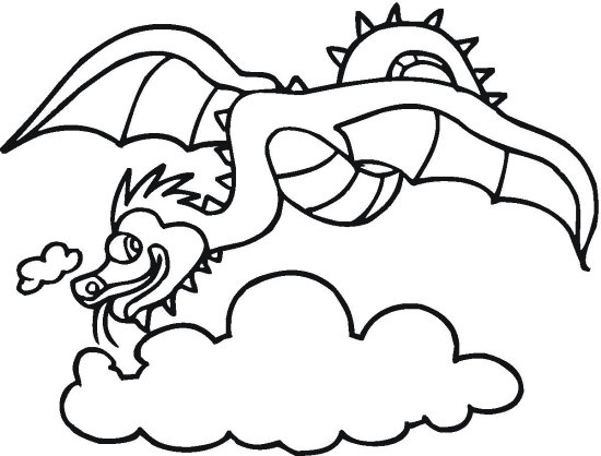 Delighful Dragon in the Sky Dragon Coloring Page