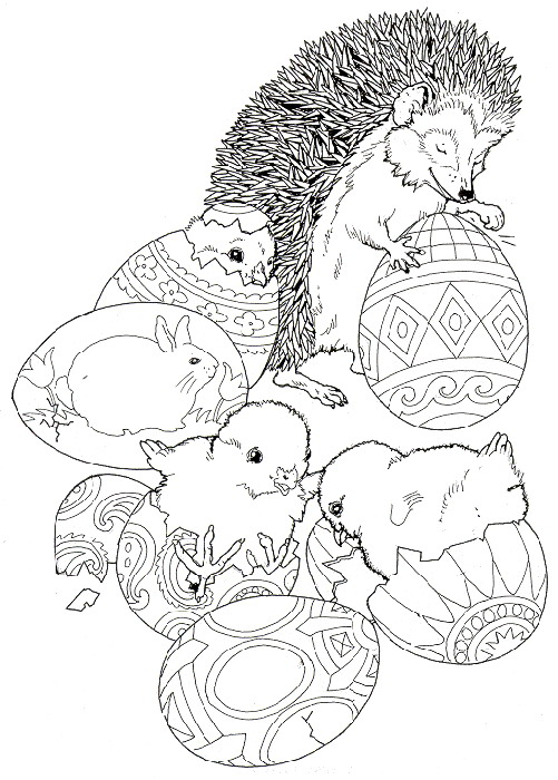 Easter Hedgehog Coloring Page