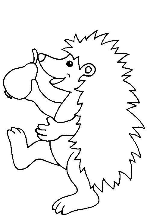 Fruit and Hedgehog Coloring Page