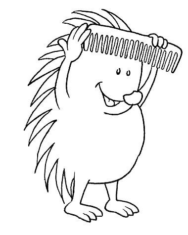 Primping Hedgehog Coloring Page