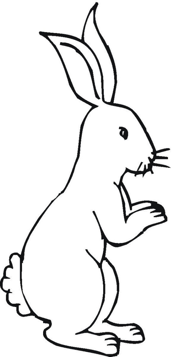 right facing silhouette bunny coloring page