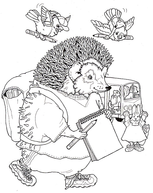 Schoolboy Hedgehog Coloring Page
