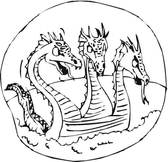 Three Dragons Swimming Dragon Coloring Page