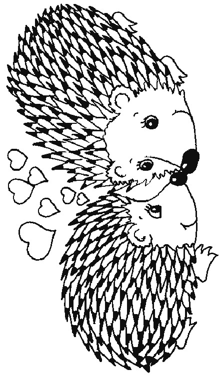 Valentine Hedgehog Coloring Page