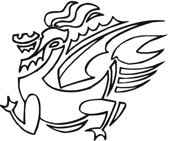 Abstract Dragon Coloring Page