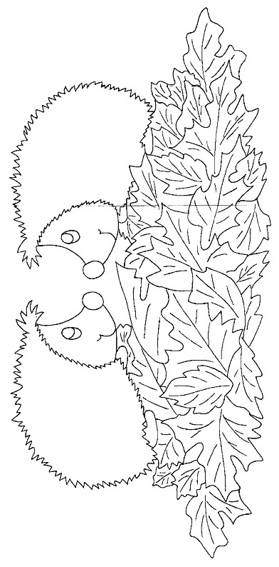Fall Leaves Hedgehog Coloring Page
