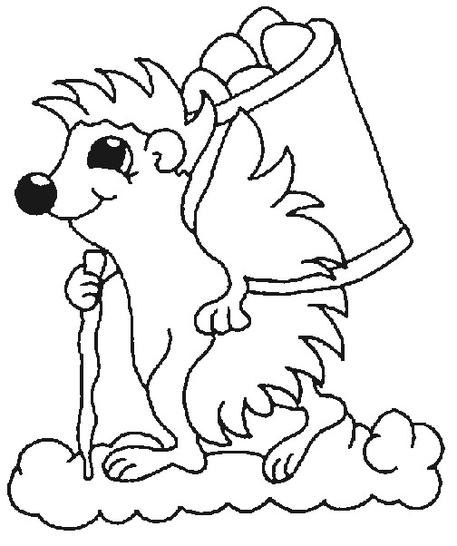 Hiking Hedgehog Coloring Page