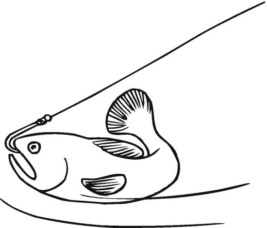 Hooked Fish Coloring Page