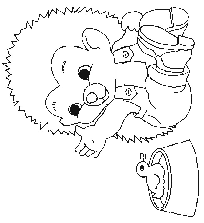 Little Boy Baby Hedgehog Coloring Page