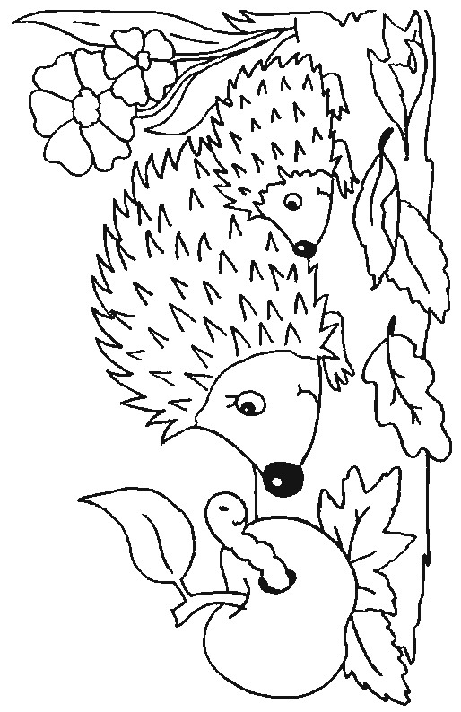 Mom and Baby Hedgehog Coloring Page
