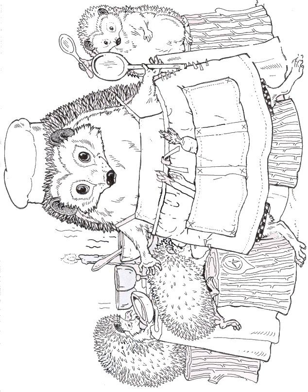Mrs Tiggy-Winkle Hedgehog Coloring Page