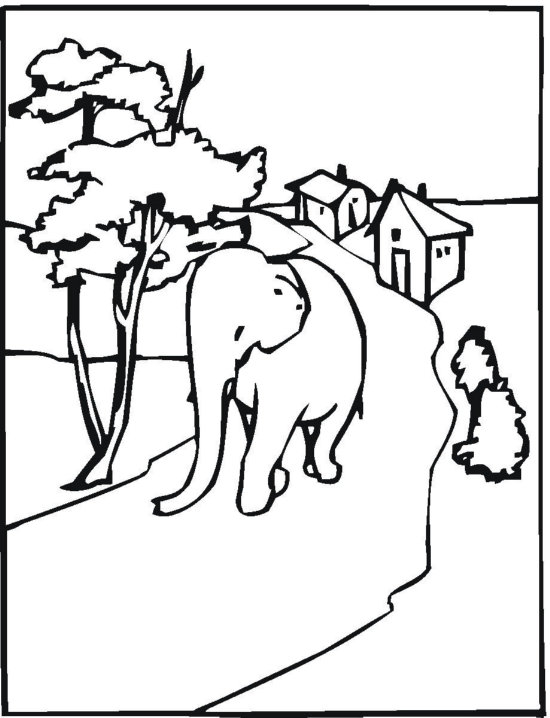 Working Elephant Coloring Page