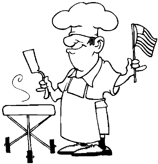 Bbq Chef Coloring Page