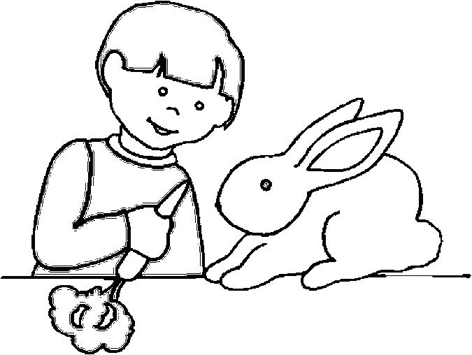 Boy Bunny Coloring Page