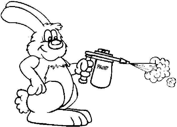 Bunny With Airbrush Coloring Page
