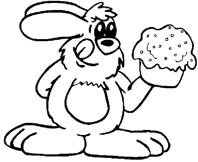 bunny with cupcake coloring page