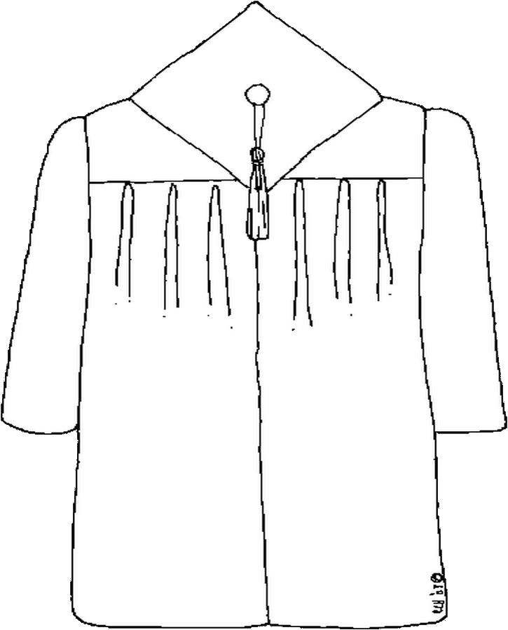 Cap and gown coloring page color book for Cap coloring page