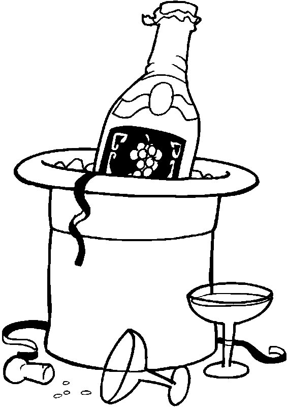 Champagne & Hat Newyearstoast Coloring Page
