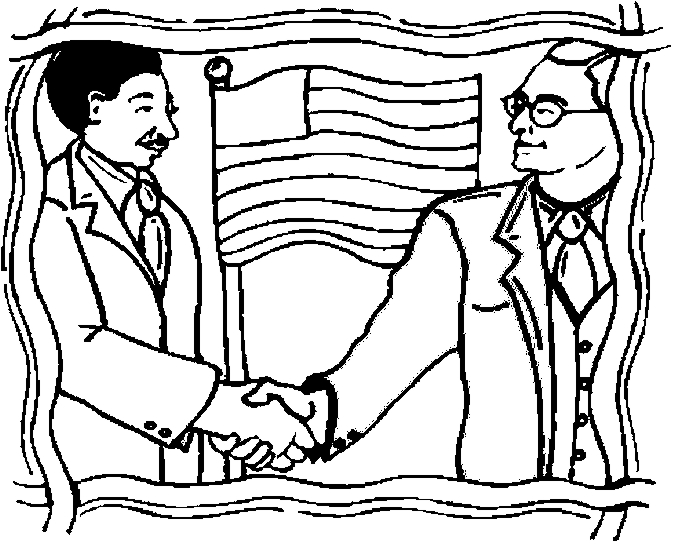 Diplomats Shaking Hands Coloring Page