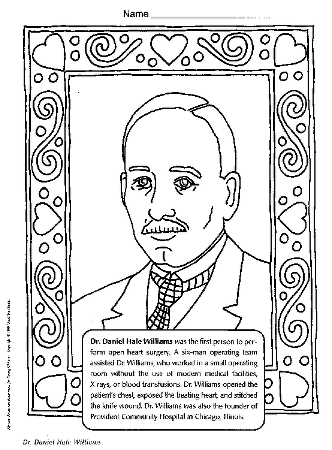 Dr Daniel Hale Williams Coloring Page Color Book