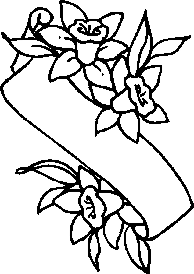 Easter Lily Banner Coloring Page - Color Book