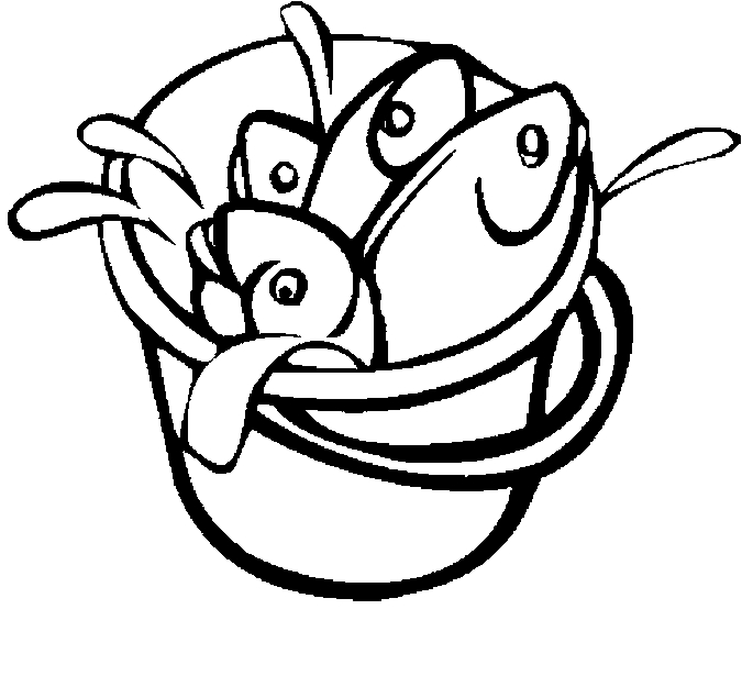 Fish In Bucket Coloring Page