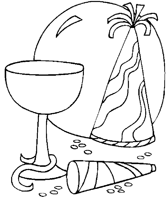 Hats & Glass Coloring Page