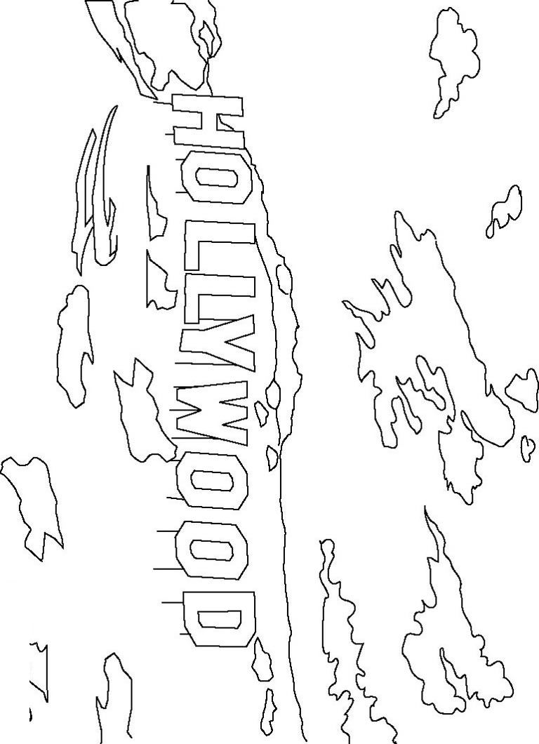 Hollywood Sign Coloring Page - Color Book