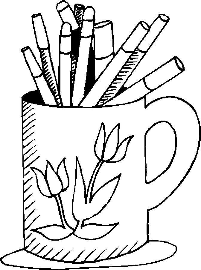 Mug & Markers Coloring Page - Color Book