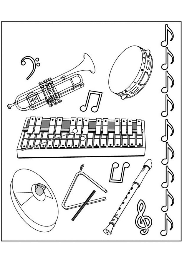 music instruments coloring page