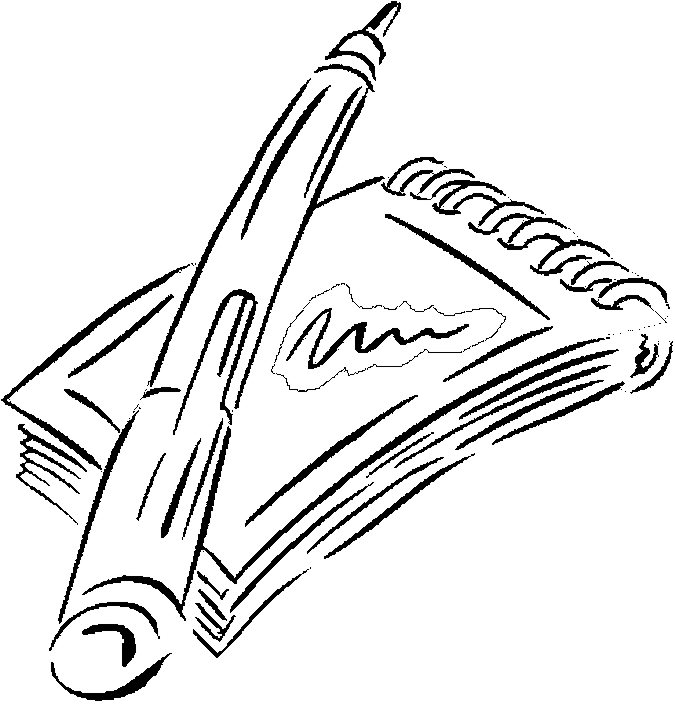 Notepad & Pen Coloring Page