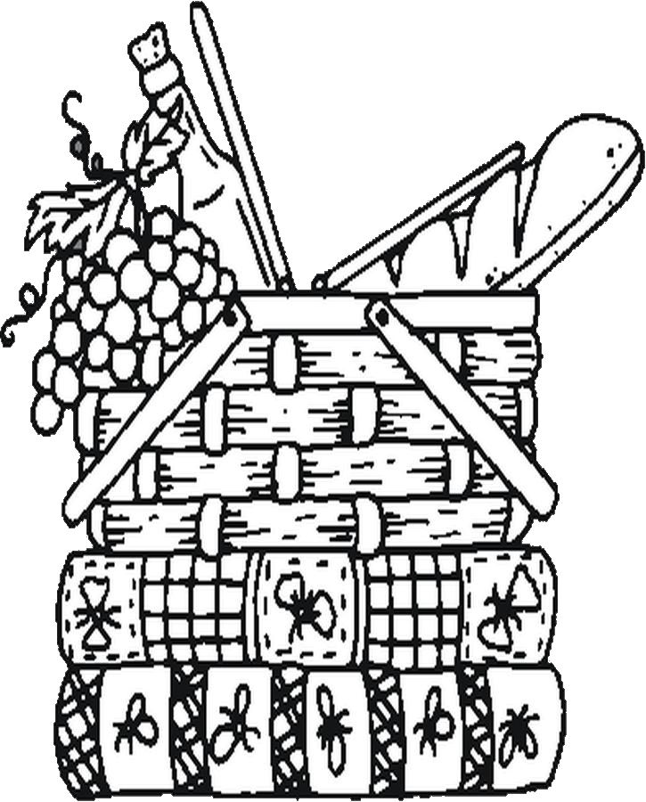 Picnic Basket Drawing Picnic Basket Coloring Page is