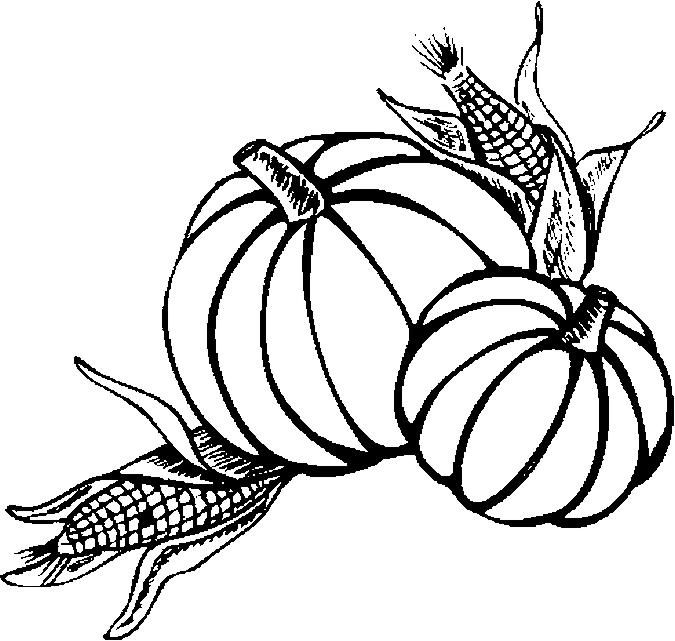 Pumpkins & Corn Coloring Page - Color Book