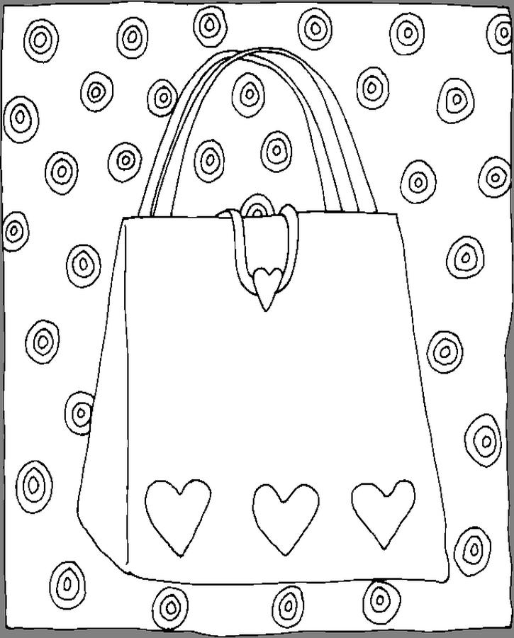 Purse Hearts Coloring Page