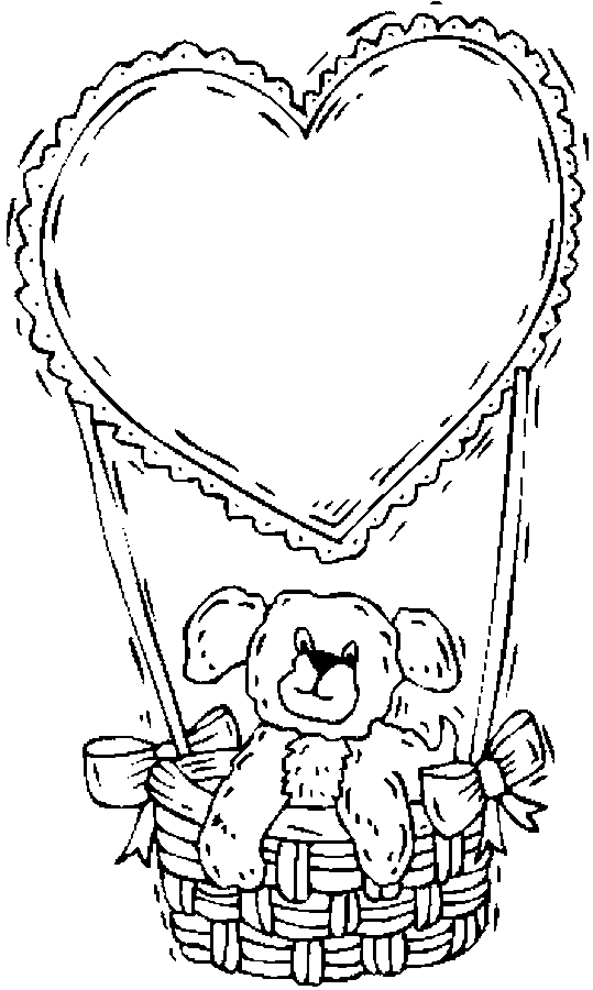 Teddy Bear Heart Balloon Coloring Page