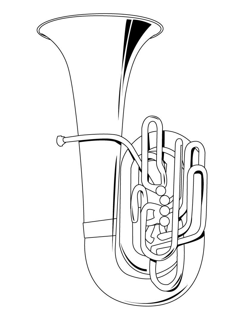 tuba coloring page color book