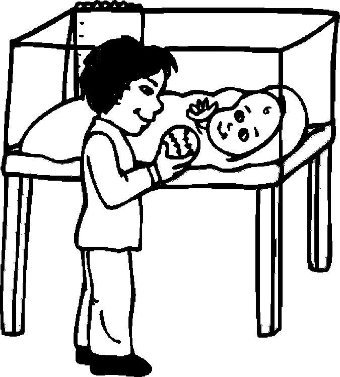 Boy & Baby Coloring Page