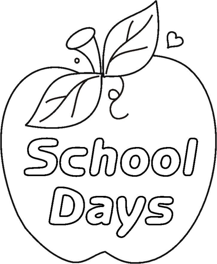 Schooldaysapplebw Coloring Page
