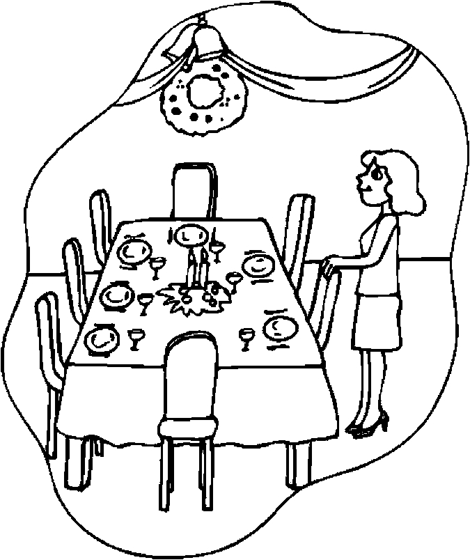 dinner table coloring page - photo #2