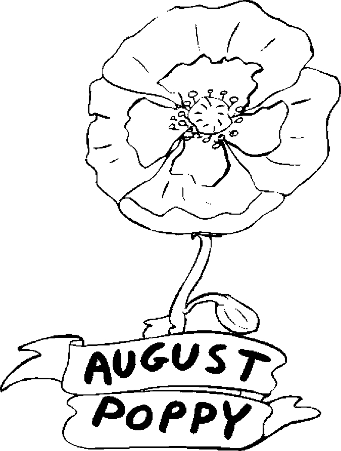 August – Poppy Coloring Page