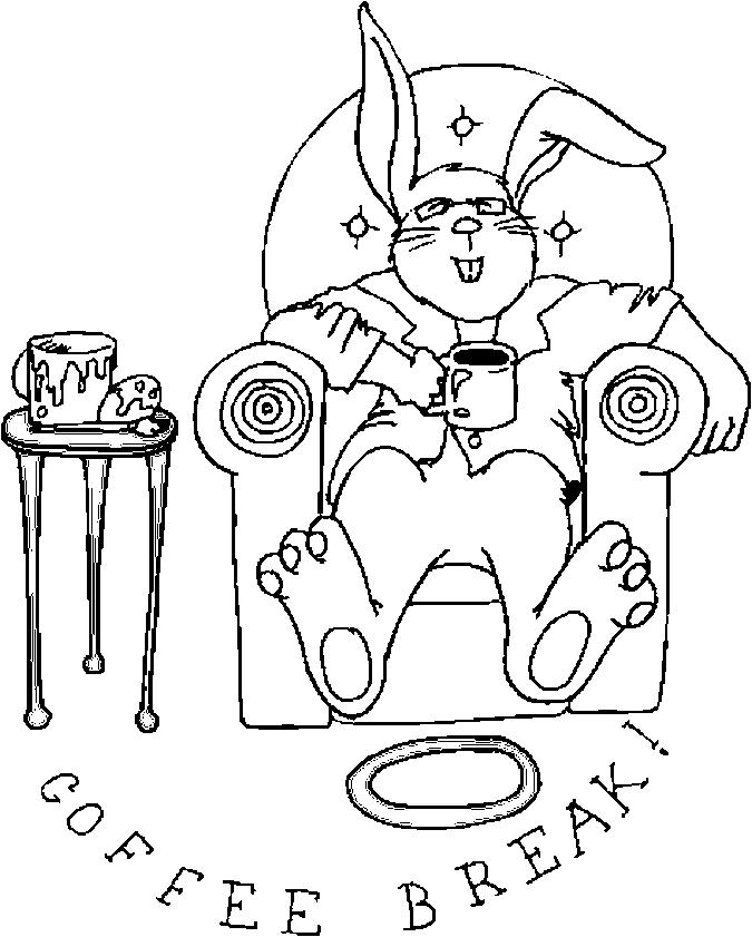 Bunny – Coffee Break Coloring Page