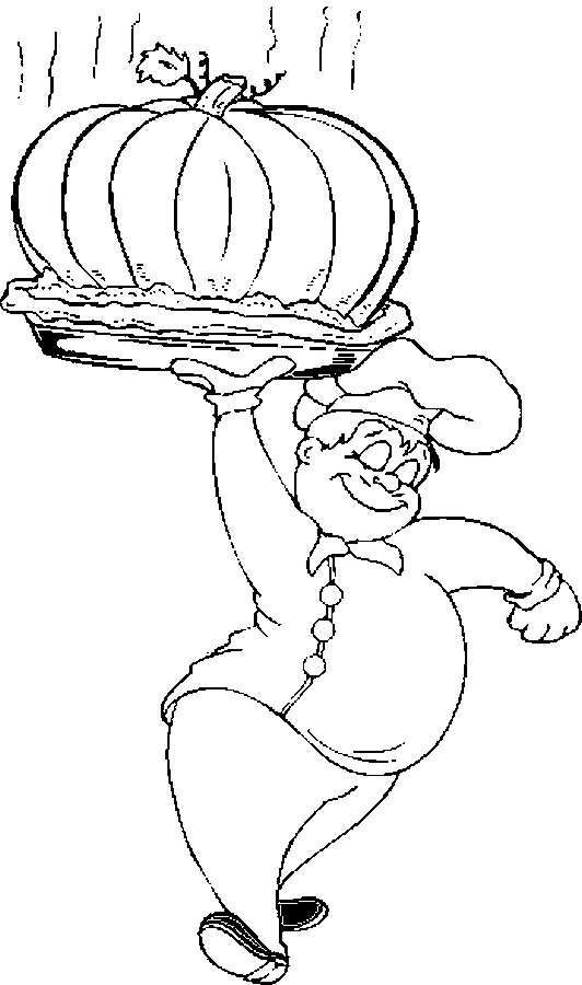 Chef – Baked Pumpkin Coloring Page