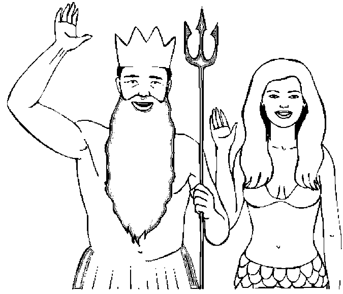 Costume – Triton & Mermaid Coloring Page