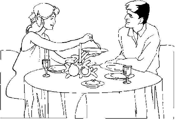 Dinner – Romantic Coloring Page