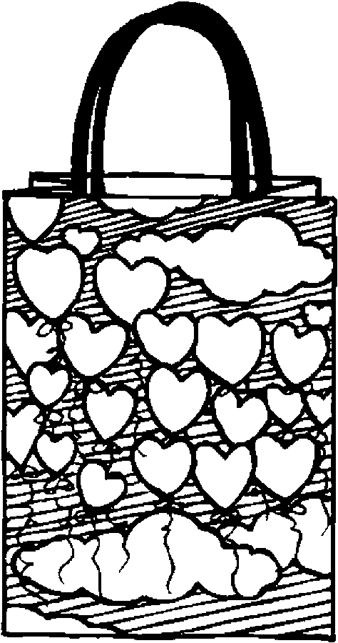 Gift Bag – Hearts Coloring Page