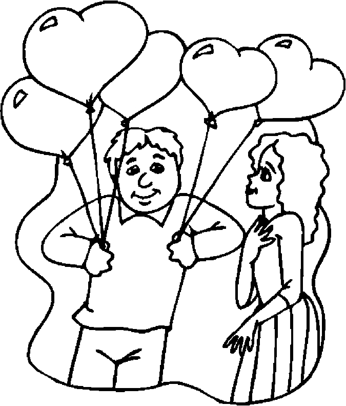 Gift – Balloons Coloring Page