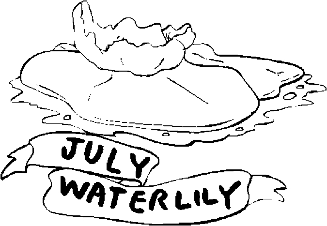 July – Water Lily Coloring Page