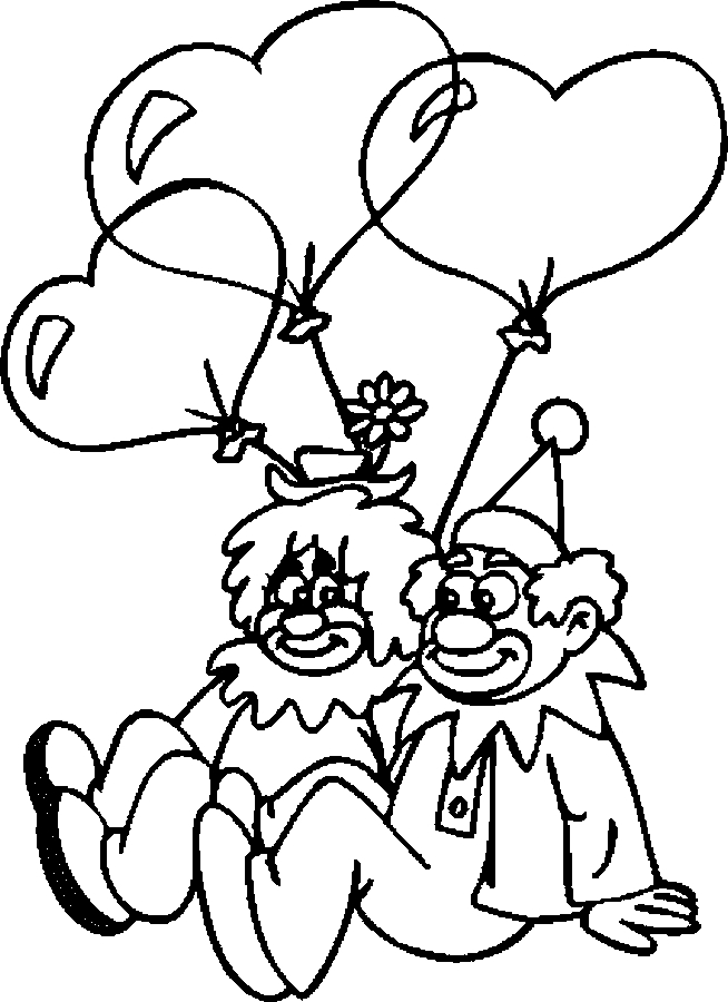 Lovers – Clowns Coloring Page