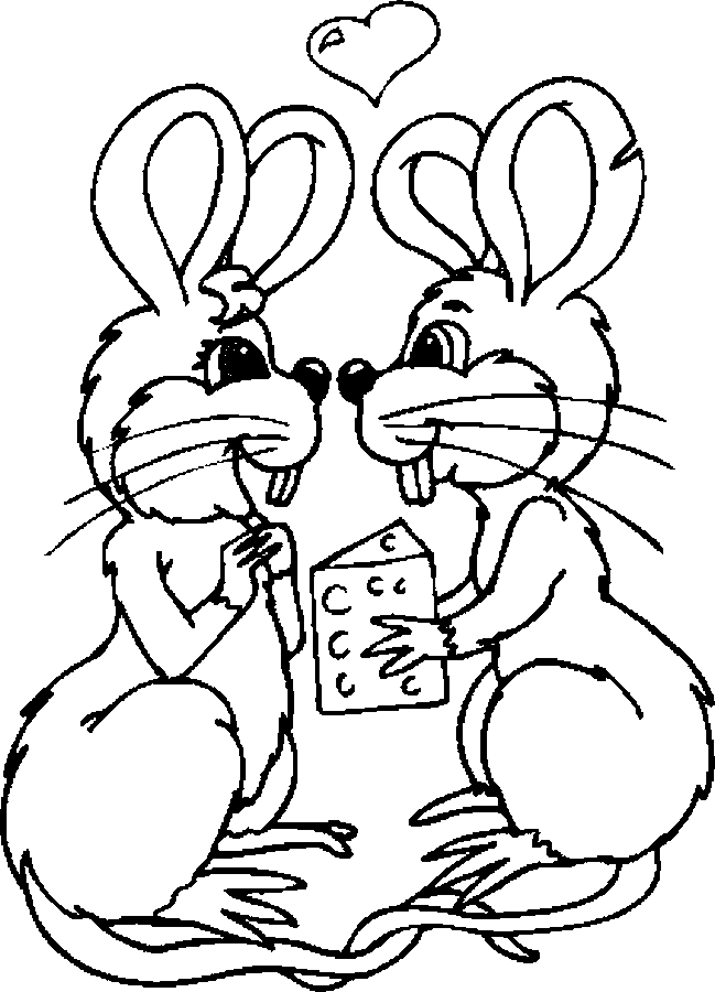 Lovers – Mice Coloring Page
